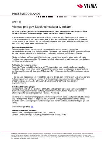 Vismas pris gav Stockholmsskola tv-reklam