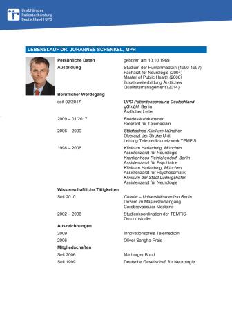 Tabellarischer Lebenslauf Dr. Johannes Schenkel
