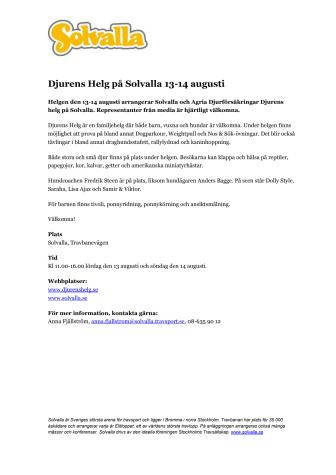 Djurens Helg på Solvalla 13-14 augusti