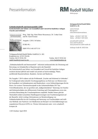 Gebäudeschadstoffe und Innenraumluft 1.2018