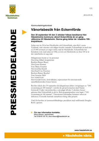 Vänortsbesök från Eckernförde