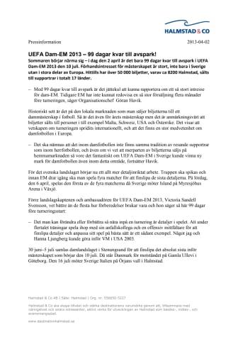 UEFA Dam-EM 2013 – 99 dagar kvar till avspark!