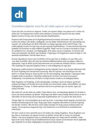 Omedelbara åtgärder krävs för att rädda regional- och inrikesflyget