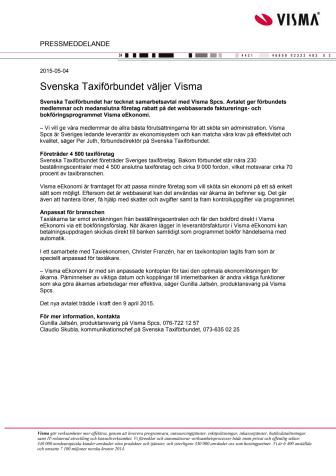 Svenska Taxiförbundet väljer Visma