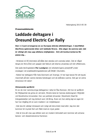 Laddade deltagare i Oresund Electric Car Rally