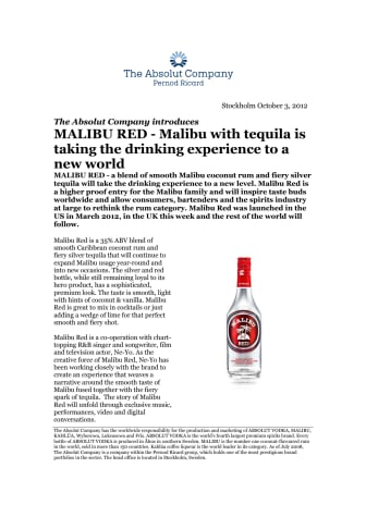 MALIBU RED - Malibu with tequila is taking the drinking experience to a new world