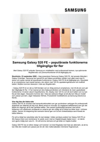 Samsung Galaxy S20 FE – populäraste funktionerna tillgängliga för fler