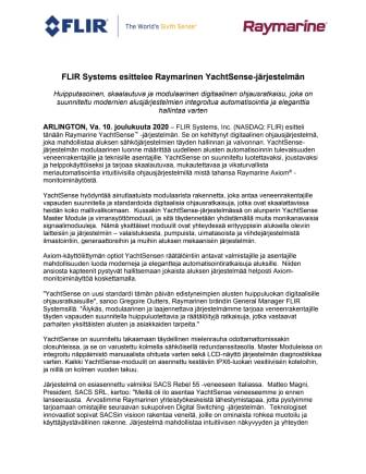 FLIR Systems esittelee Raymarinen YachtSense-järjestelmän