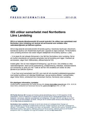 ISS utökar samarbetet med Norrbottens Läns Landsting