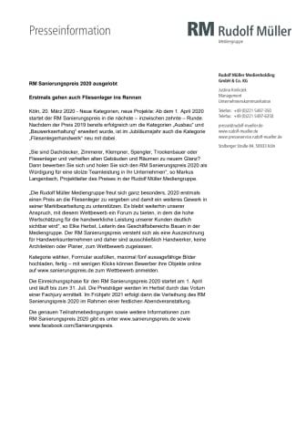 RM Sanierungspreis 2020 ausgelobt