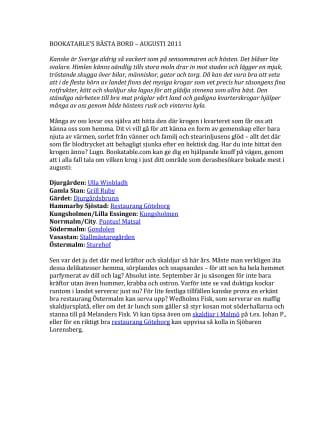 BOOKATABLE'S BÄSTA BORD – AUGUSTI 2011