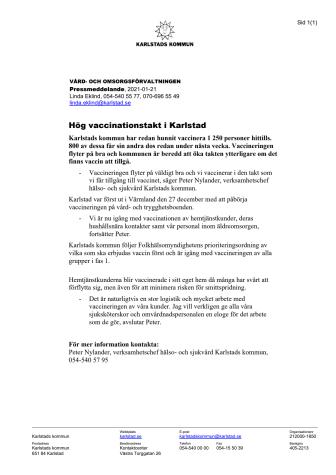 Pressmeddelande - Hög vaccinationstakt i Karlstad.pdf