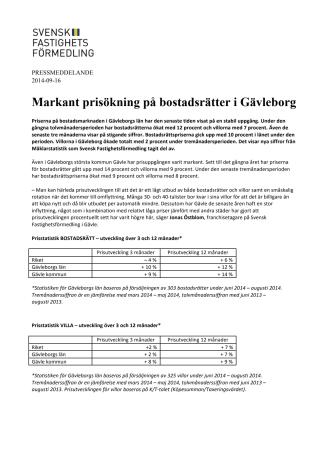 Markant prisökning på bostadsrätter i Gävleborg