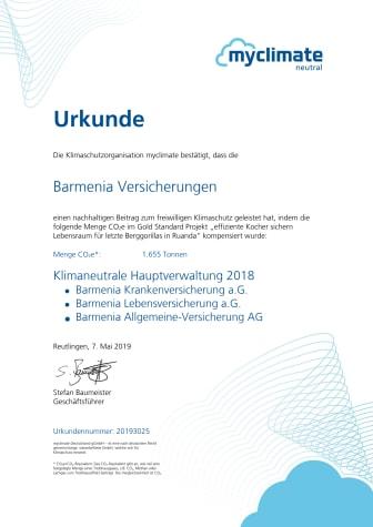 Urkunde über CO2-Kompensation aus 2018 von myclimate für Barmenia