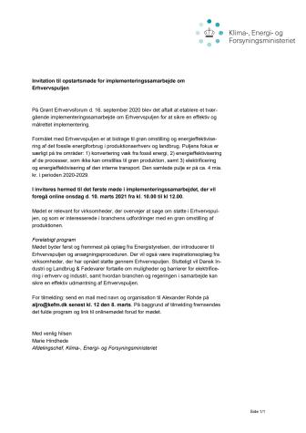 Invitation til opstartsmøde for implementeringssamarbejde om Erhvervspuljen