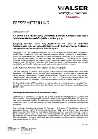 AF 24mm F1.8 FE für Sony Vollformat-E-Mount-Kameras: Das neue lichtstarke Weitwinkel-Objektiv von Samyang
