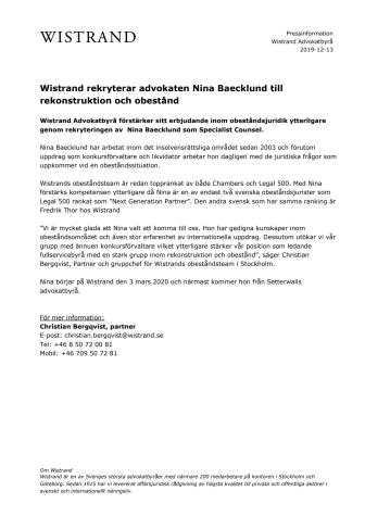 Wistrand rekryterar advokaten Nina Baecklund till rekonstruktion och obestånd