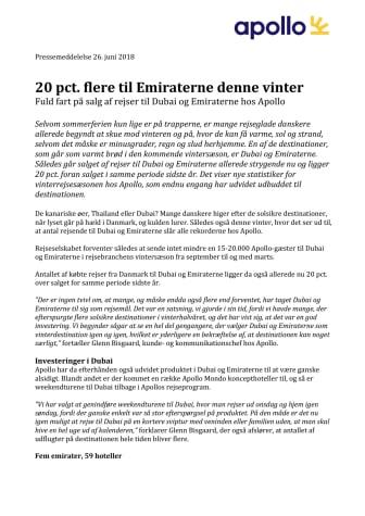 20 pct. flere til Emiraterne denne vinter