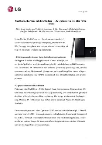 Snabbare, skarpare och kraftfullare – LG Optimus 4X HD klar för leverans