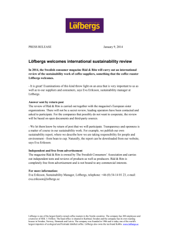 Löfbergs welcomes international sustainability review