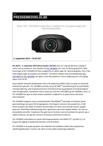Sony VPL-VW300ES giver flere mulighed for at opleve ægte 4K i hjemmebiografen