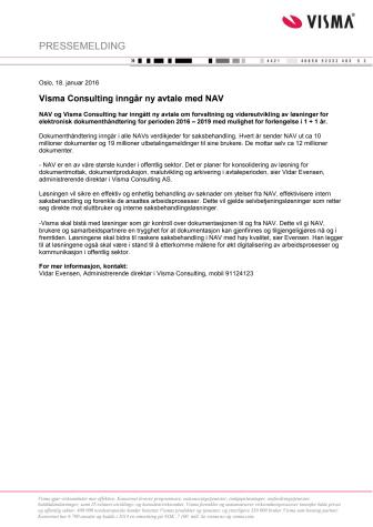 Visma Consulting inngår ny avtale med NAV