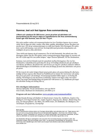 Sommar, test och fest öppnar Åres sommarsäsong