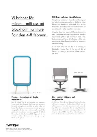 Vi brinner för möten - möt oss på Stockholm Furniture Fair den 4-8 februari