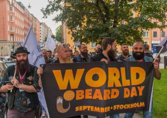 Skäggparad genom Stockholm på World Beard Day