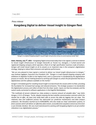 Kongsberg Digital to deliver Vessel Insight to Güngen fleet