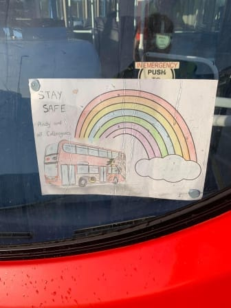 Rainbow poster on a Go North East bus