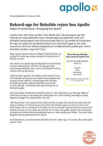 Rekord-uge for fleksible rejser hos Apollo