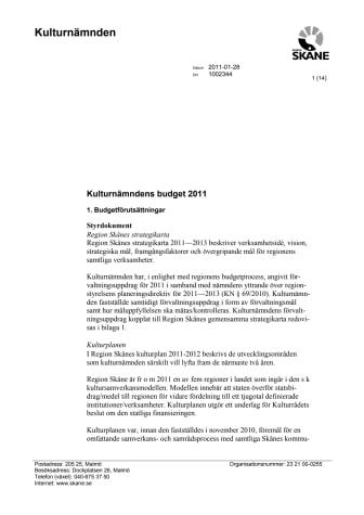 Kulturnämndens budget 2011 exl fördelning av statliga bidrag