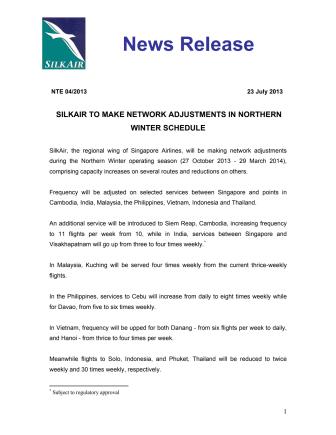 SilkAir to Make Adjustments in Northern Winter Schedule