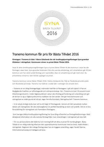 Tranemo kommun får pris för Bästa Tillväxt 2016