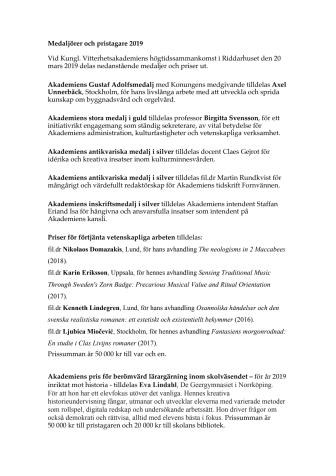 Kungl. Vitterhetsakademiens medaljörer och pristagare 2019