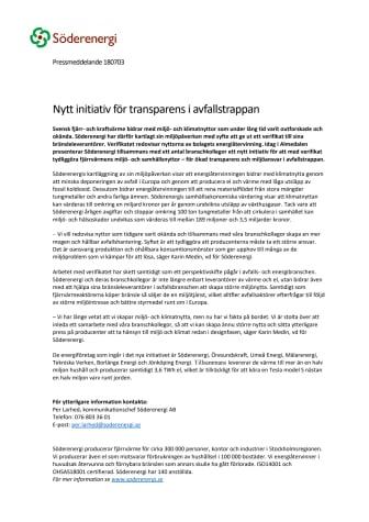 Nytt initiativ för transparens i avfallstrappan