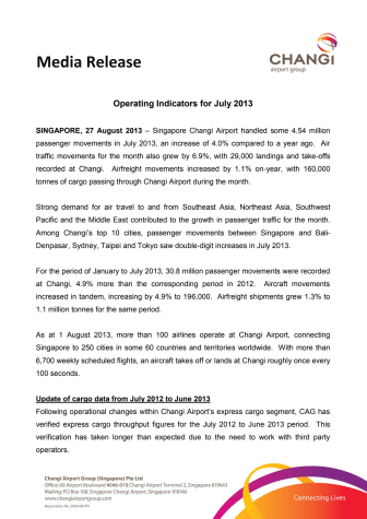 Operating Indicators for July 2013