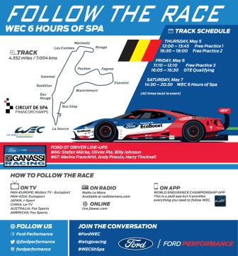Infographic: Följ Ford GT på WEC 6 Hours of Spa i helgen