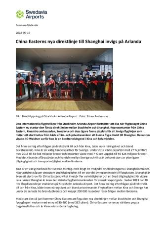 China Easterns nya direktlinje till Shanghai invigs på Arlanda