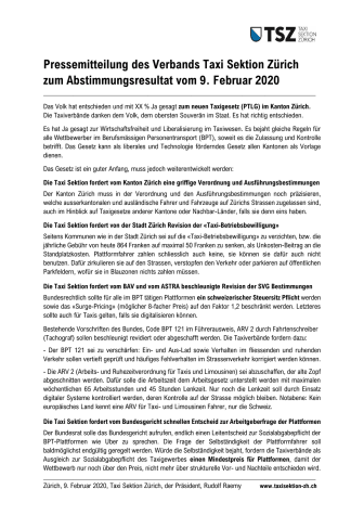 Pressemitteilung der TSZ, Taxi Sektion Zürich zum Taxigesetz PTLG