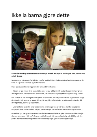 Ikke la barna gjøre dette