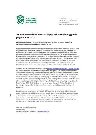 Yttrande avseende Nationell avfallsplan och avfallsförebyggande program 2018-2023