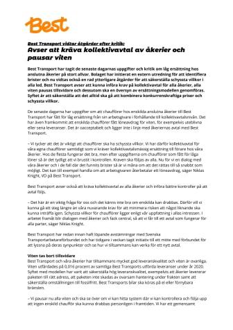 Best Transport vidtar åtgärder efter kritik: Avser att kräva kollektivavtal av åkerier och pausar viten