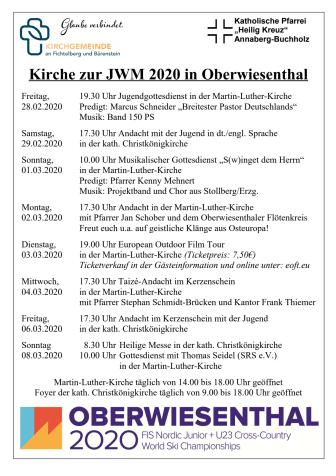 Veranstaltungen Kirche zur JWM 2020