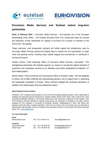 Eurovision Media Services and Eutelsat extend long-term partnership