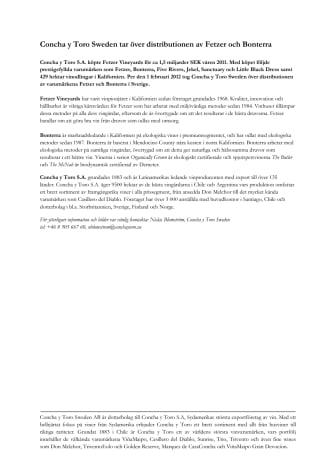 Concha y Toro Sweden tar över distributionen av Fetzer och Bonterra