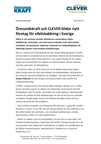 Öresundskraft och CLEVER bildar nytt företag för elbilsladdning i Sverige