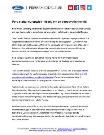 Ford støtter europæisk initiativ om en grønnere fremtid