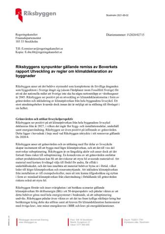 Riksbyggens synpunkter av Fi2020 02715 Utveckling av regler om klimatdeklaration av byggnader